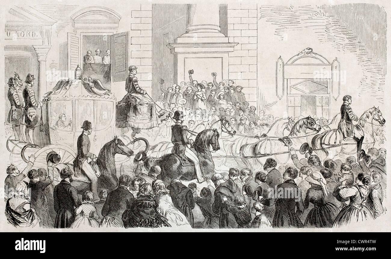 Il papa Pio IX arrivo a Firenze Immagini Stock