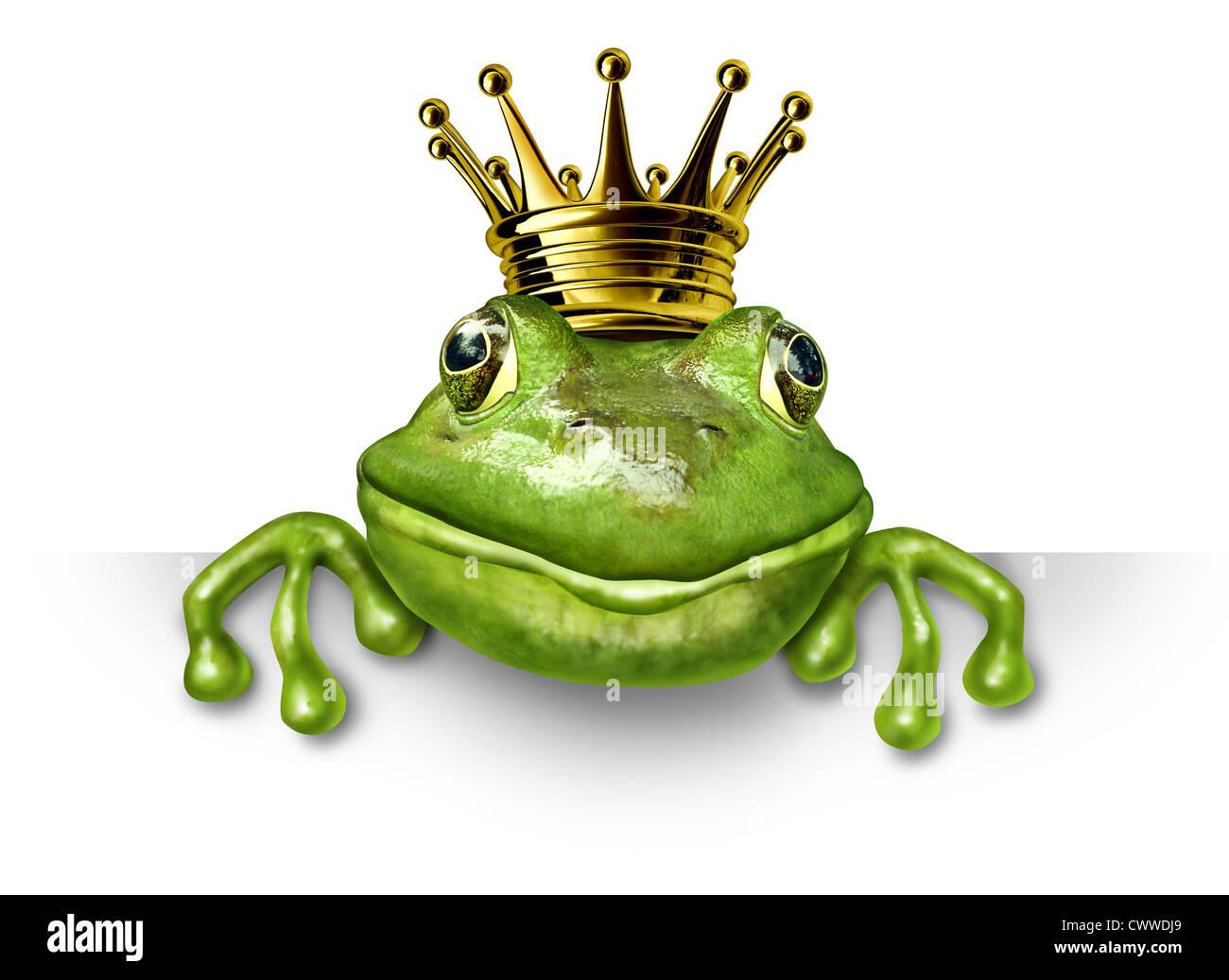 Frog prince con piccole corona d'oro tenendo un vuoto segno che rappresenta la fiaba concetto di cambiamento Immagini Stock