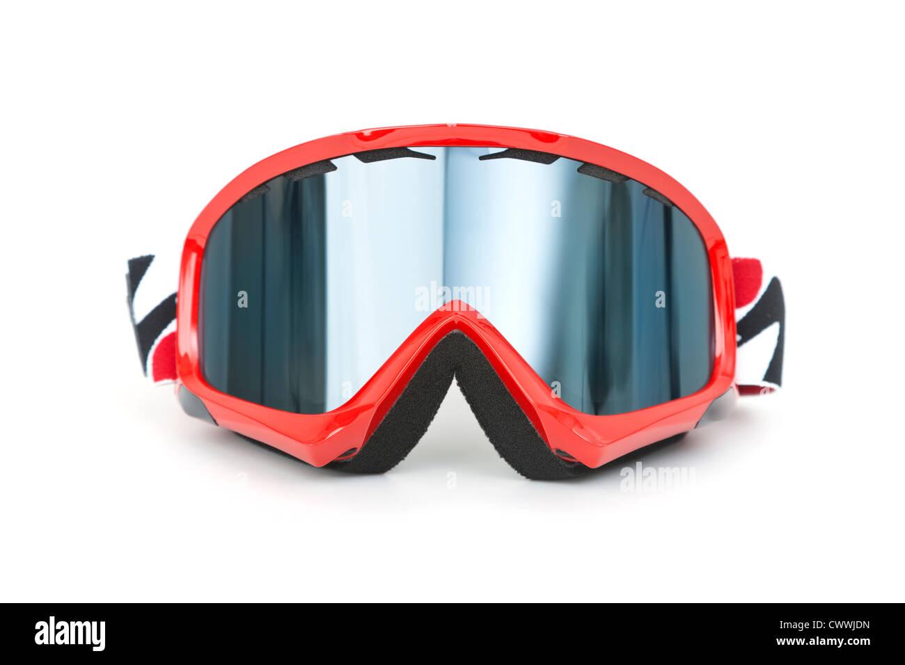 Nuovo di zecca occhiali da sci isolati su sfondo bianco Immagini Stock