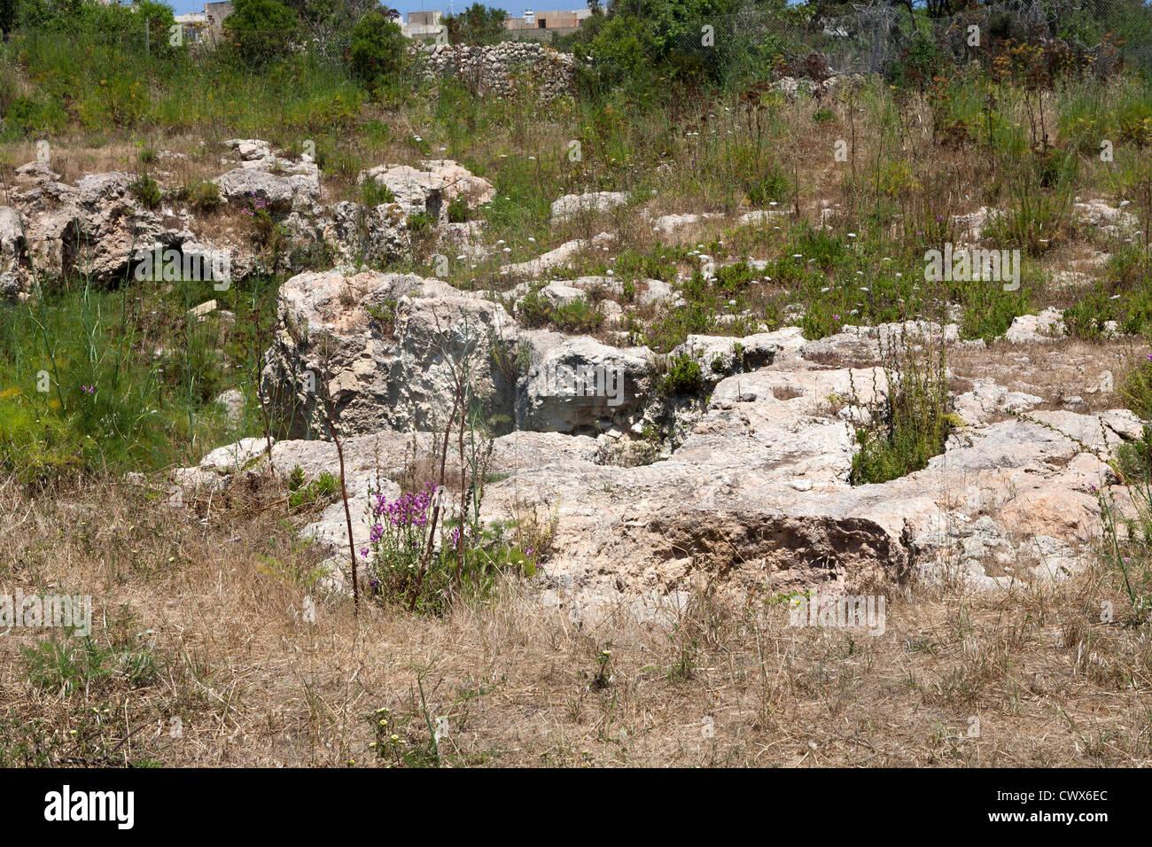 Il cerchio Brockdorff noto anche come Xagha cerchio vicino al Tempio di Ggantija, isola di Gozo, Mare Mediterraneo Foto Stock