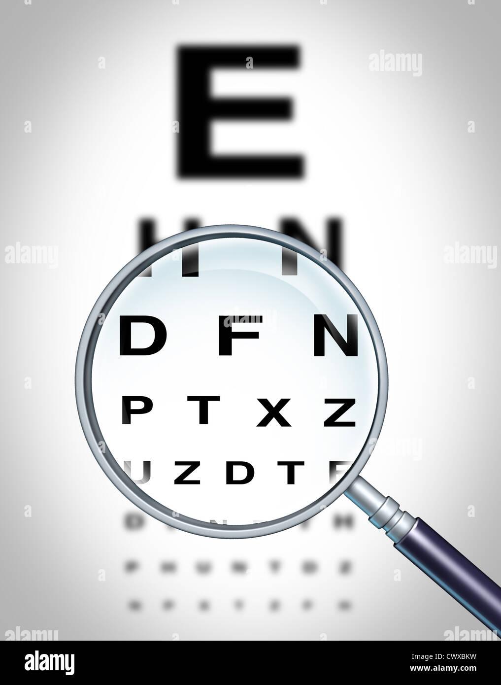 Occhio umano vision grafico e vista medical all'ottico optometrista simbolo per il reparto oculistica in ahospital Immagini Stock