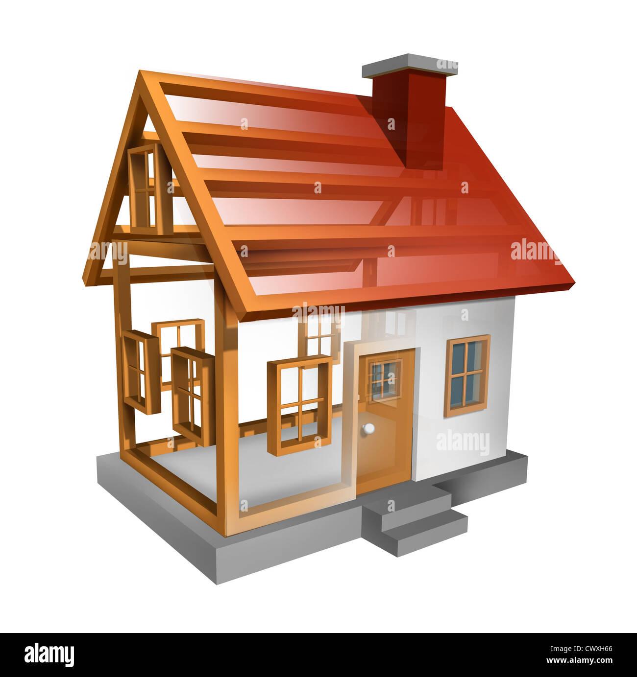 La Costruzione Di Una Casa E Di Costruzione Casa Con L Interno