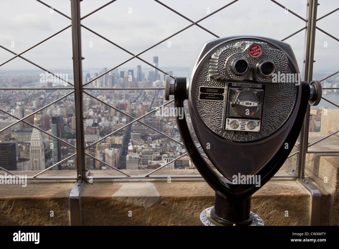 Un mirino al 86º piano osservatorio sull'Empire State building. Immagini Stock