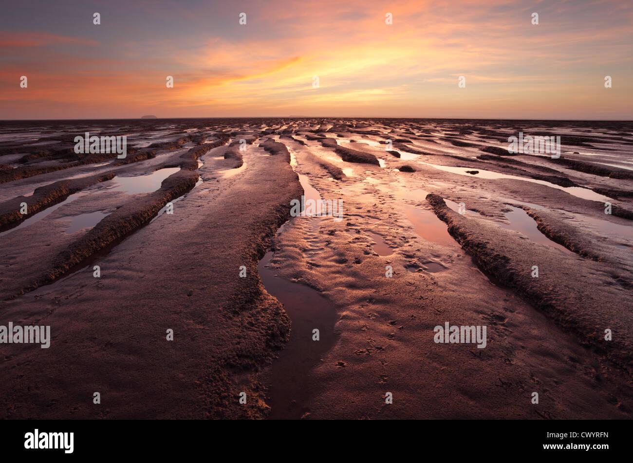 Velme presso la baia di sabbia vicino a Weston-super-Mare. Somerset. In Inghilterra. Regno Unito. Immagini Stock
