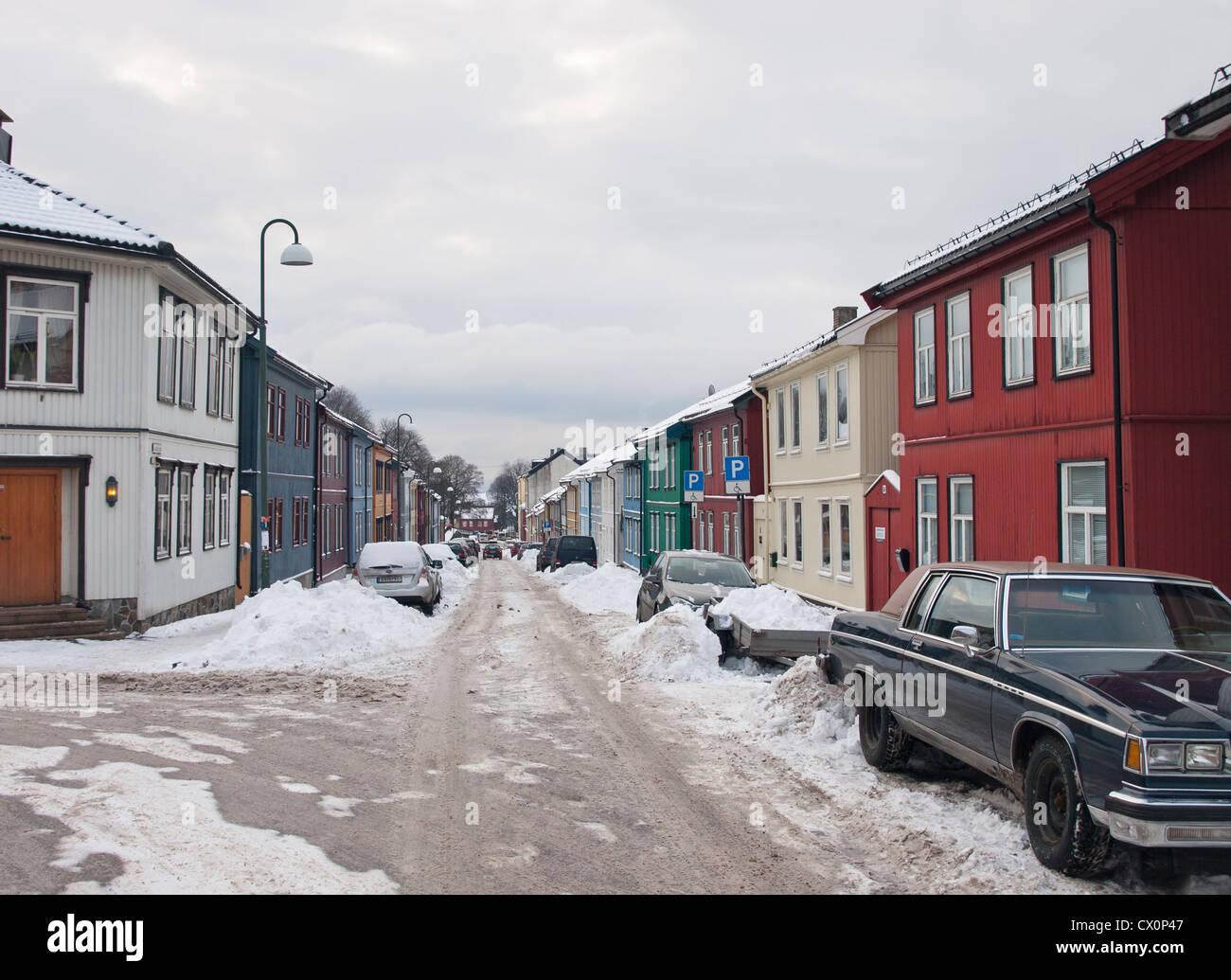 Case In Legno Problemi inverno a oslo norvegia, una strada vålerenga con vecchie