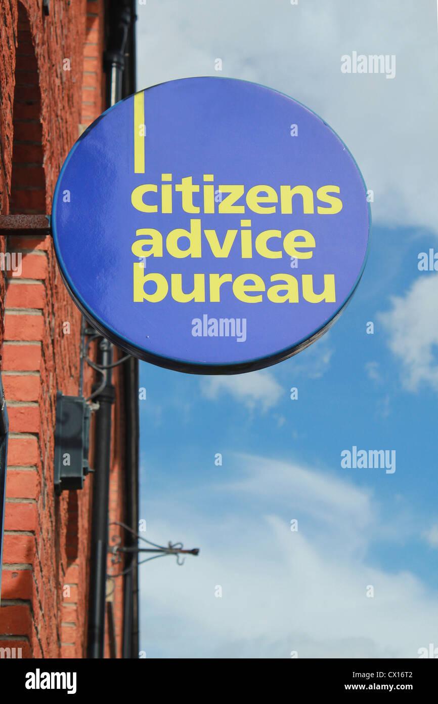 Citizens Advice Bureau segno Immagini Stock