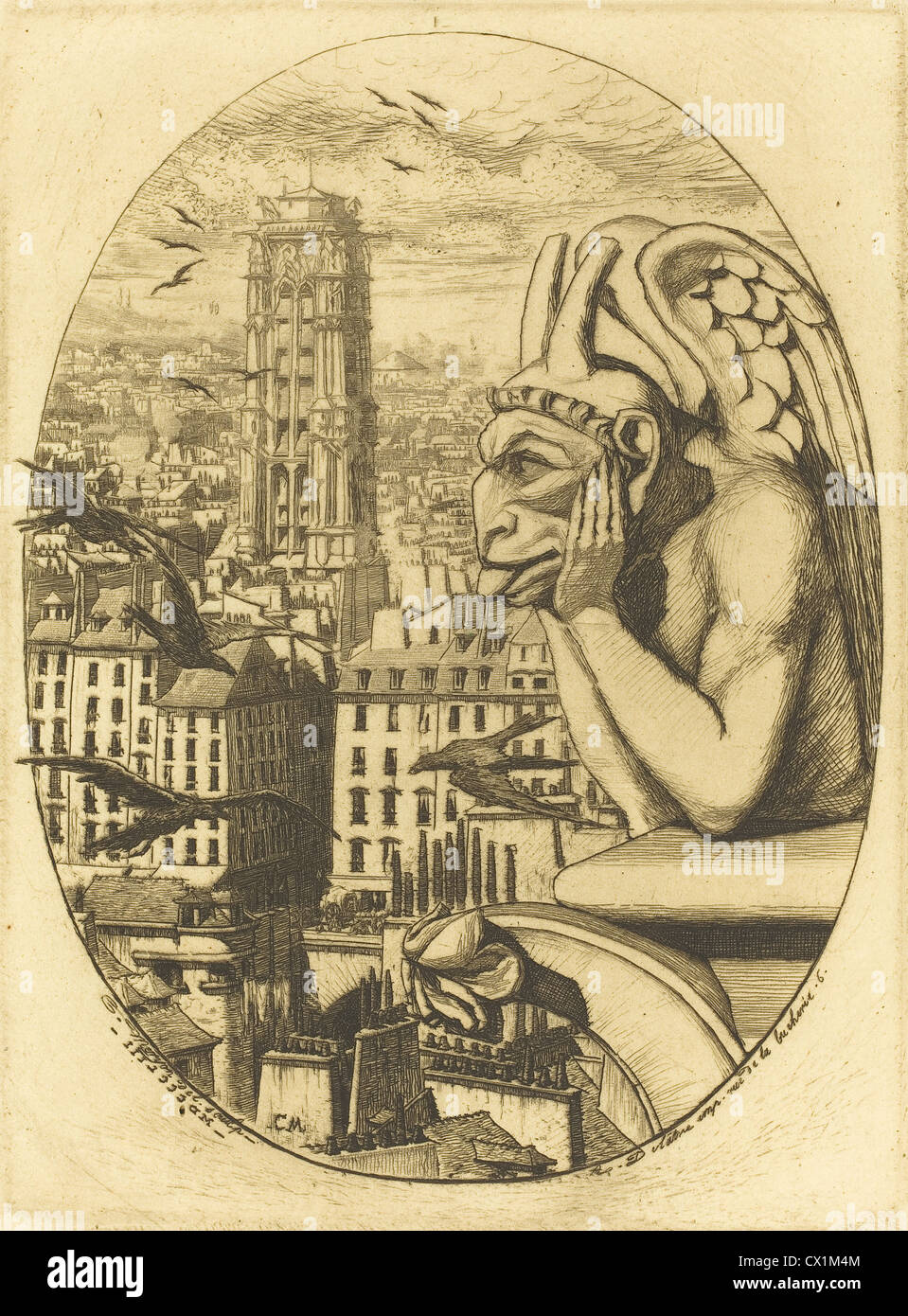 Charles Meryon (francese, 1821 - 1868 ), Le stryge (Il vampiro), 1853, attacco Immagini Stock