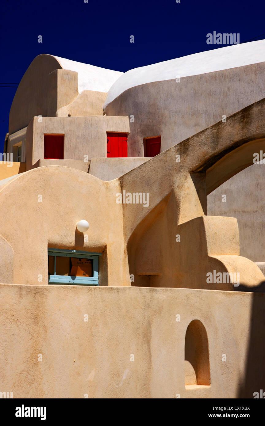 La sua architettura impressionante nella parte vecchia del villaggio Embourios, nell'entroterra dell'isola Immagini Stock