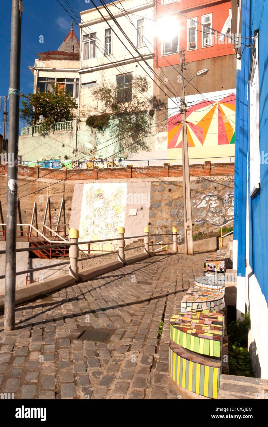 Artistico cerro Bellavista, Valparaiso, Cile Immagini Stock