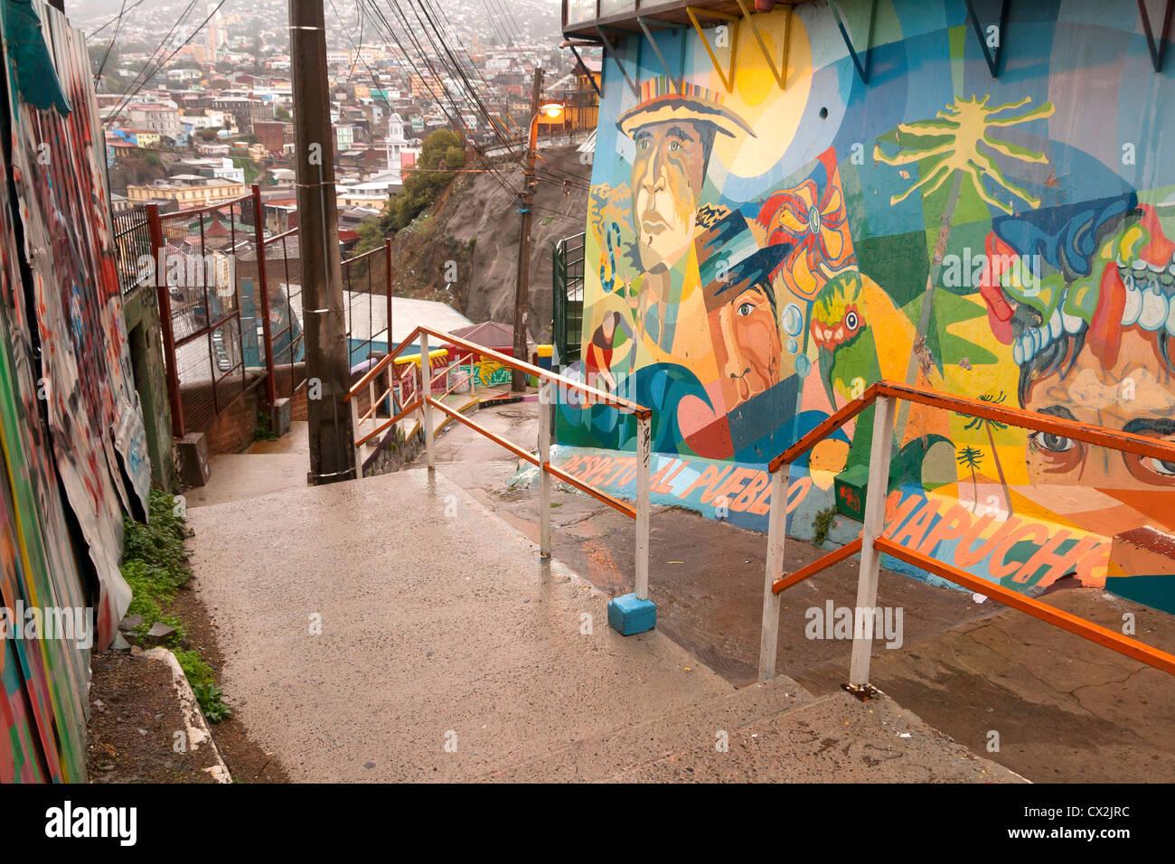 Artistico scalinata a cerro Artilleria, Valparaiso, Cile Immagini Stock