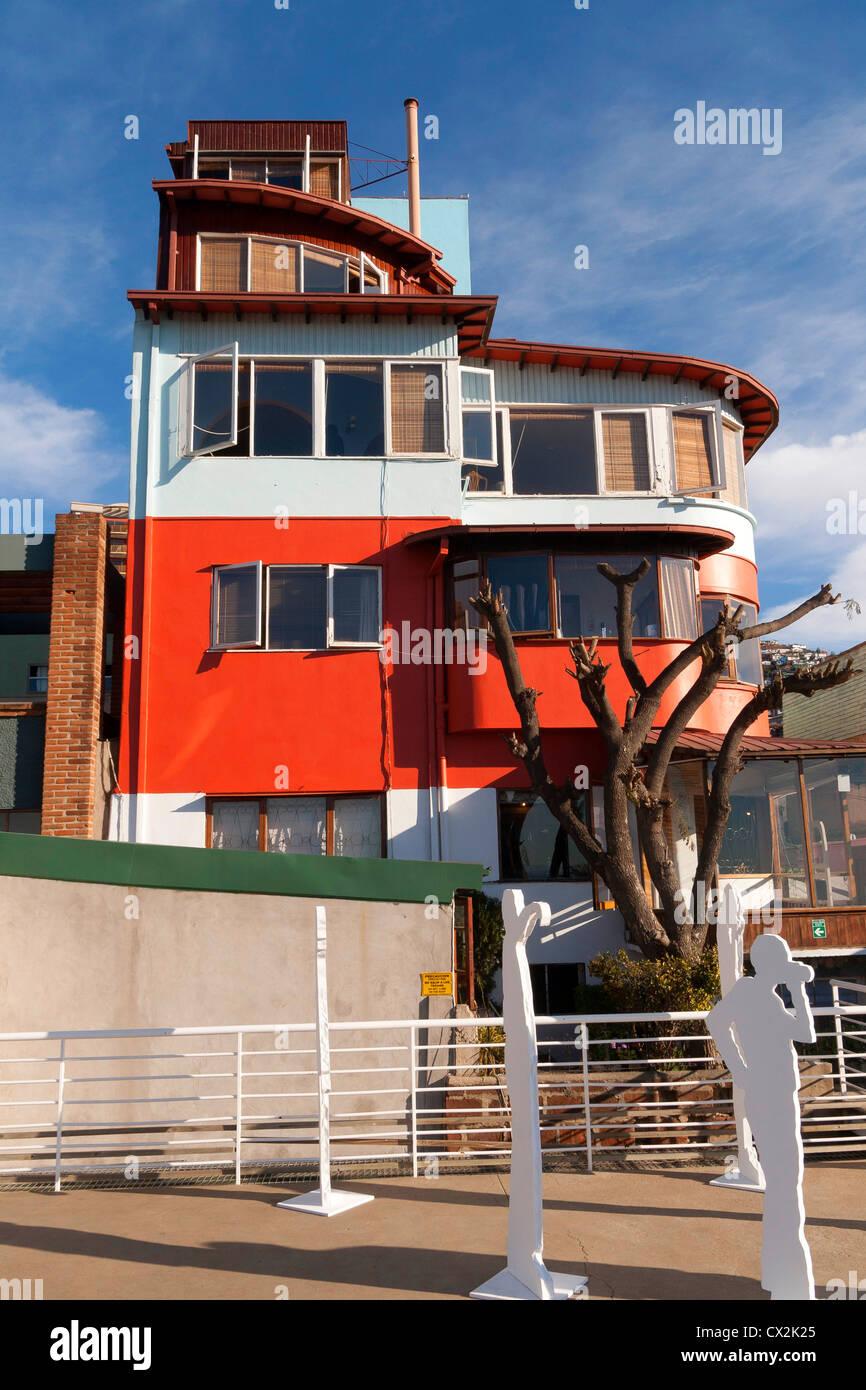 Pablo Neruda home a Valparaiso, La Sebastiana sul Cerro Florida, Cile Immagini Stock