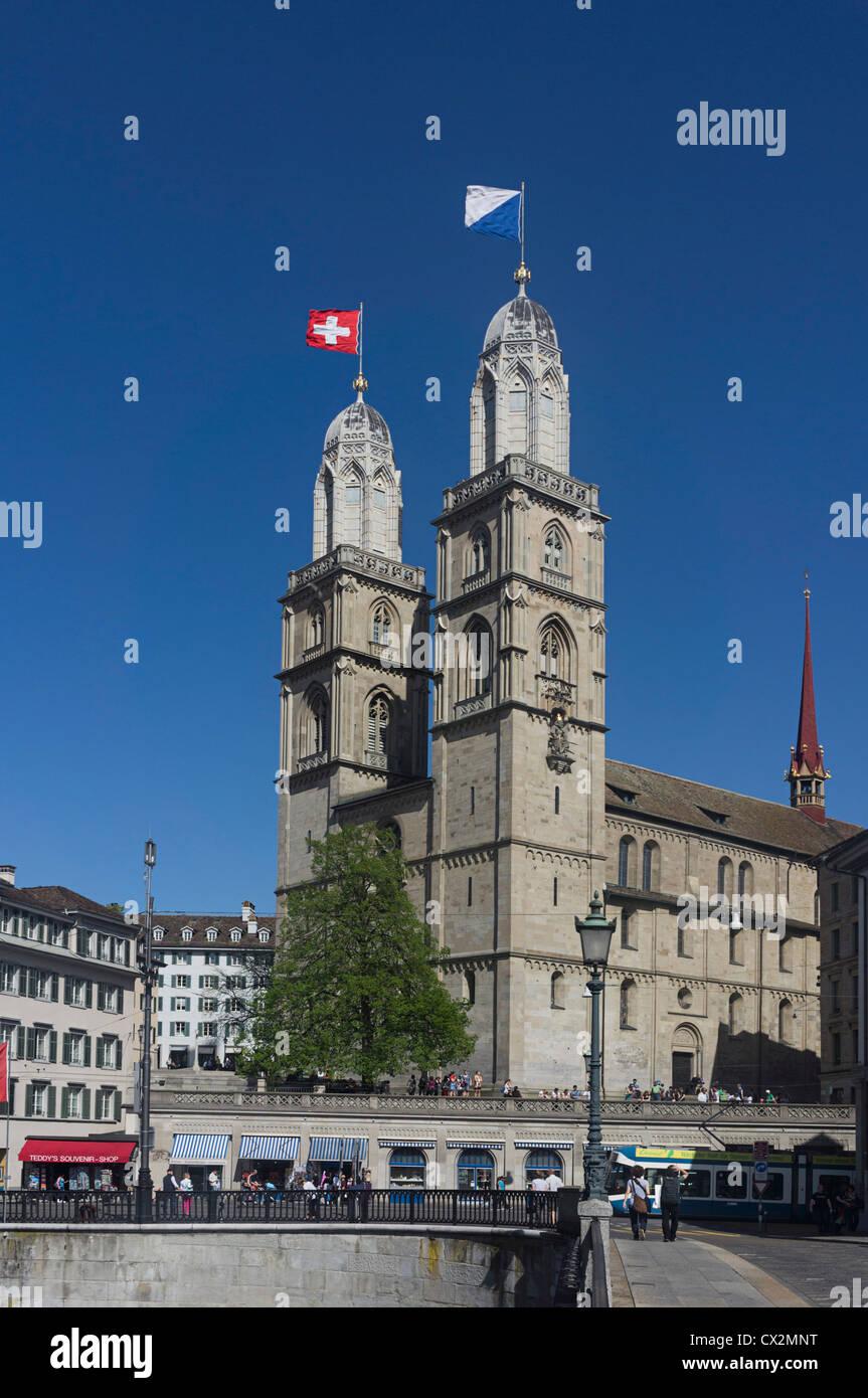 Grossmuentser, kathedral, Zurigo, Foto Stock