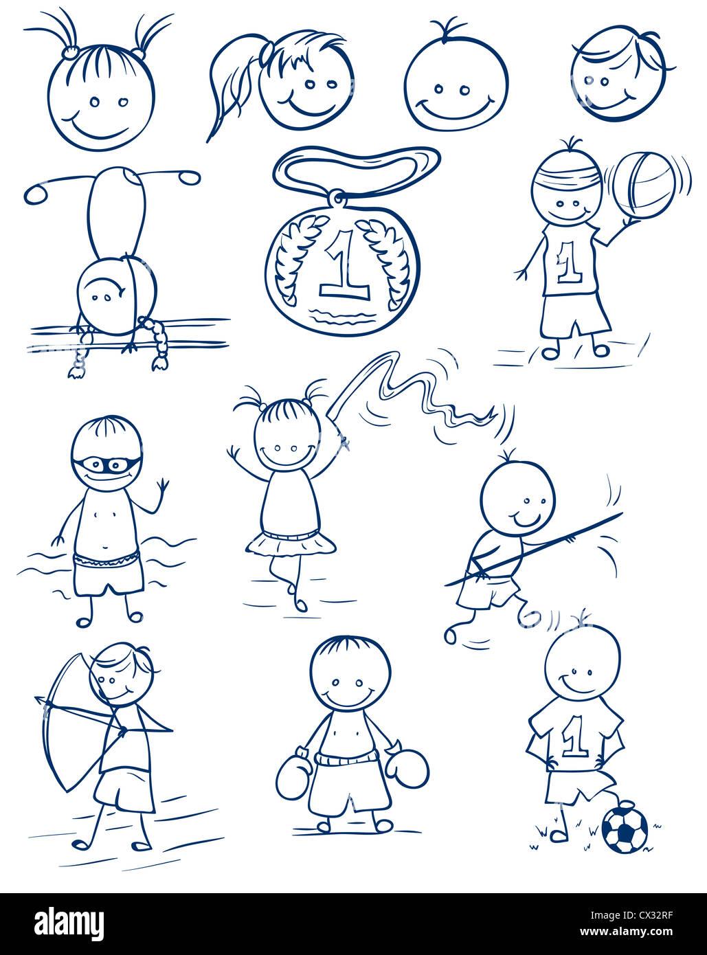 Divertente per bambini immagini di diversi atleti. Illustrazione eseguita nello stile scarabocchio. Immagini Stock