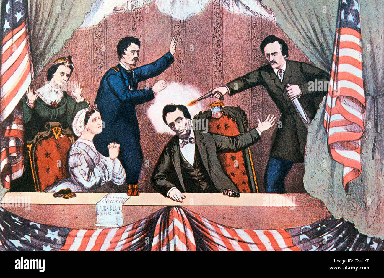 Assassinio del presidente Abraham Lincoln da John documento Wilkes Booth Immagini Stock