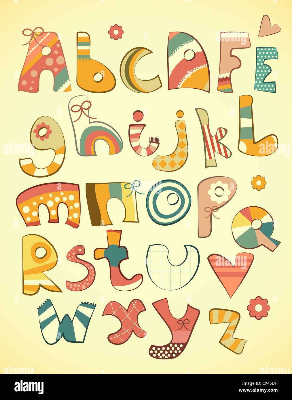 Alfabeto design in divertimento stile doodle lettere A-Z - illustrazione Immagini Stock