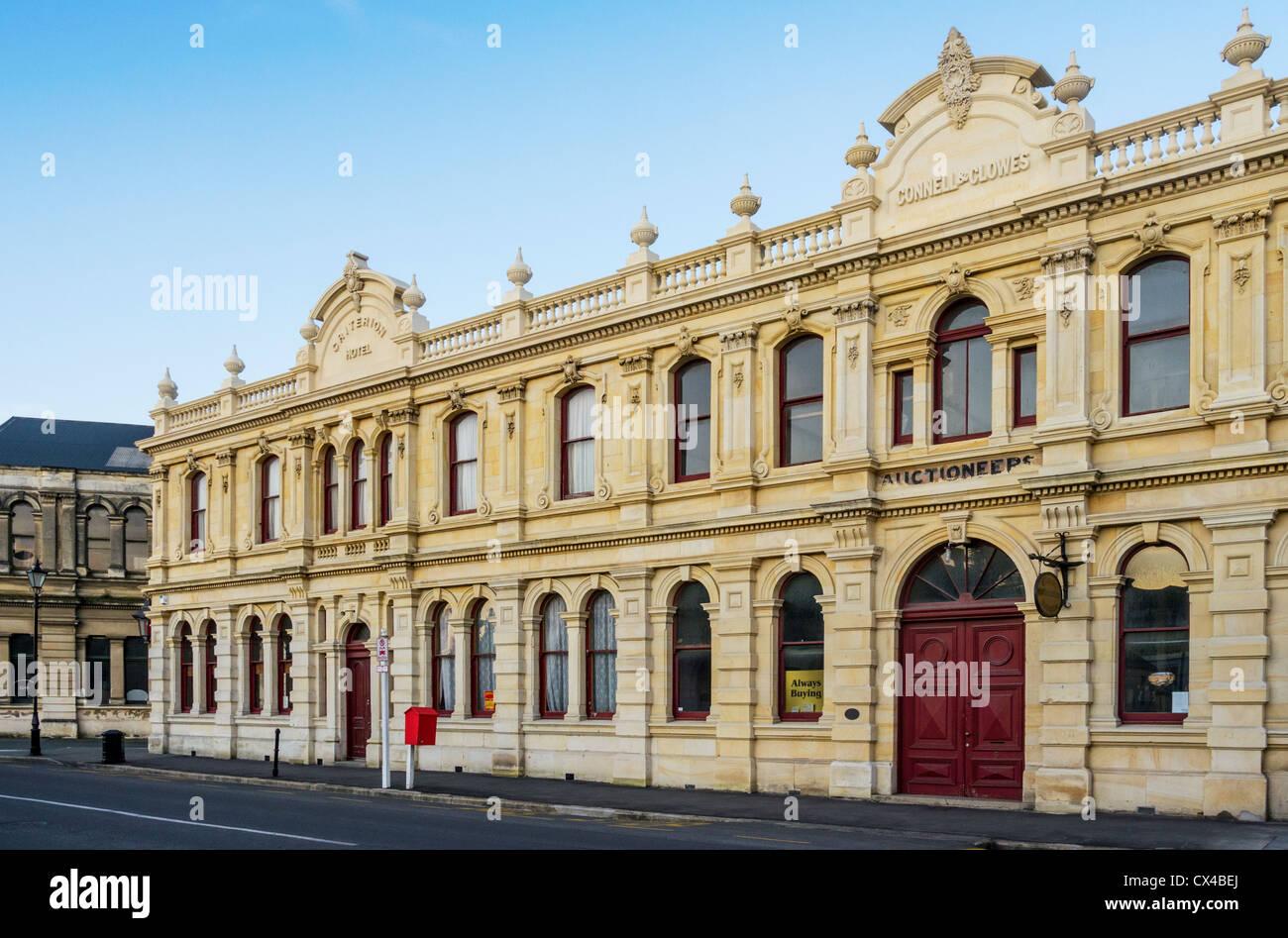 Gli edifici in stile vittoriano in Tyne Street, Oamaru, Otago, Nuova Zelanda, parte del quartiere vittoriano. Immagini Stock