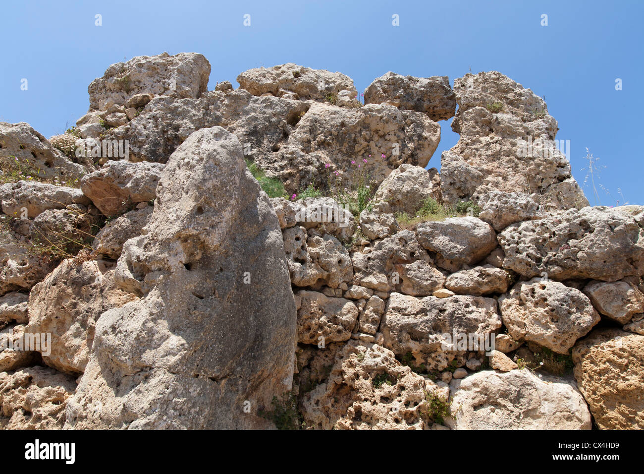 Erosione dei blocchi, pareti esterne presso i templi di Ggantija vicino Xagha, isola di Gozo, vicino a Malta, Mare Immagini Stock