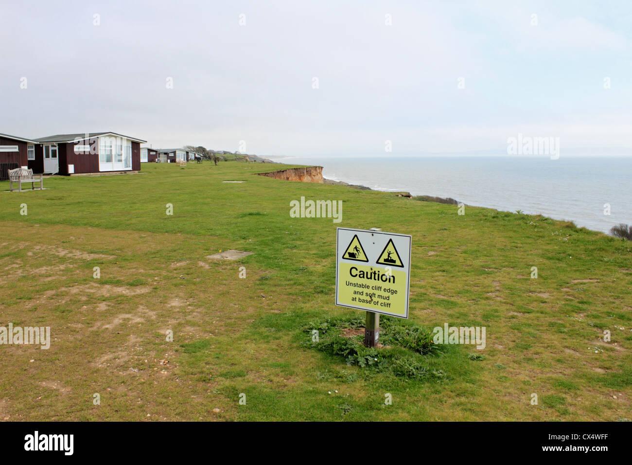 Cliff erosione tra Barton sul mare e Highcliffe, Dorset, England Regno Unito Foto Stock