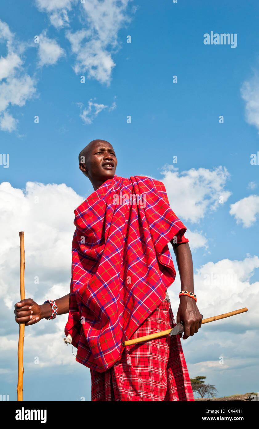 Kenia Masai Mara Masai guerriero in rosso di avvolgimento tradizionali e stick nel Masai Mara National Park in riserva Immagini Stock