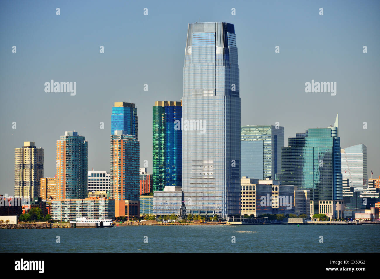 Skyline di Exchange Place a Jersey City, New Jersey, USA. Immagini Stock