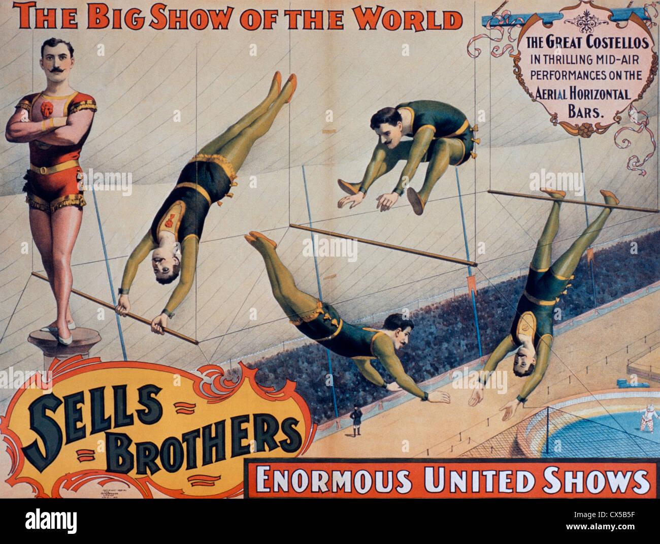 Vende fratelli enorme Regno mostra poster, il grande Costellos in emozionanti spettacoli Mid-Air sull'antenna Immagini Stock