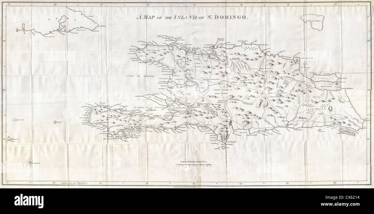 1800 Stockdale Mappa di Hispaniola o Santo Domingo, West Indies (Haiti, Repubblica Dominicana) Immagini Stock