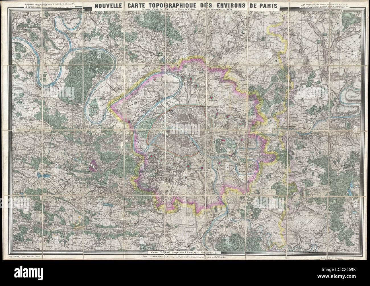 1880 Clerot Pocket Mappa di Parigi e dintorni, Francia - Immagini Stock