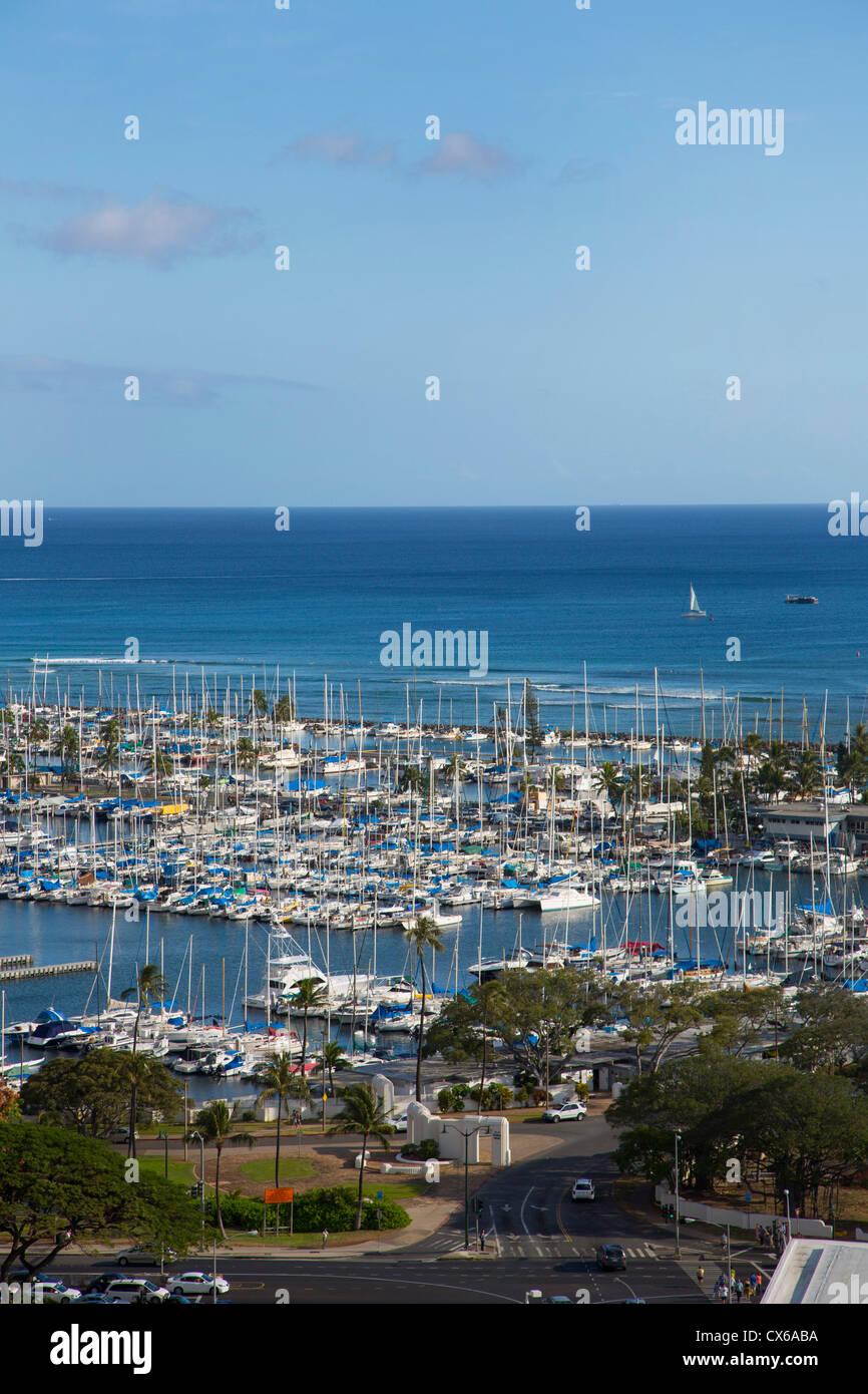 Ala Wai Yacht Harbor, Waikiki, Oahu, Hawaii Immagini Stock