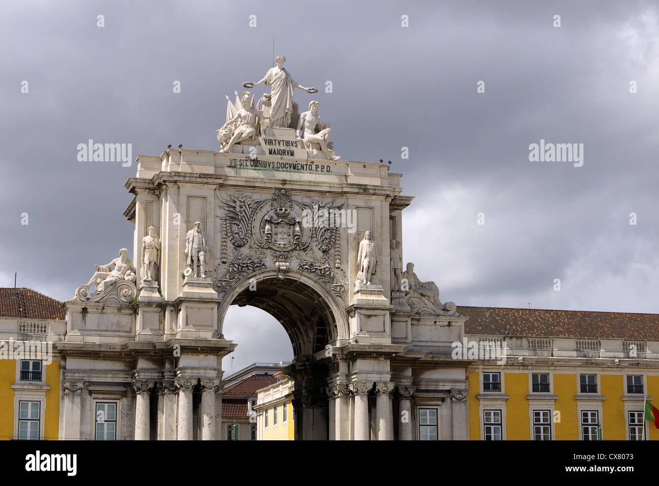 Arco Augusta a Lisbona, Portogallo. Immagini Stock