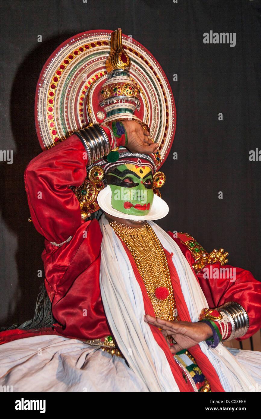 India Kerala Cochin Kathakali performance di danza Immagini Stock
