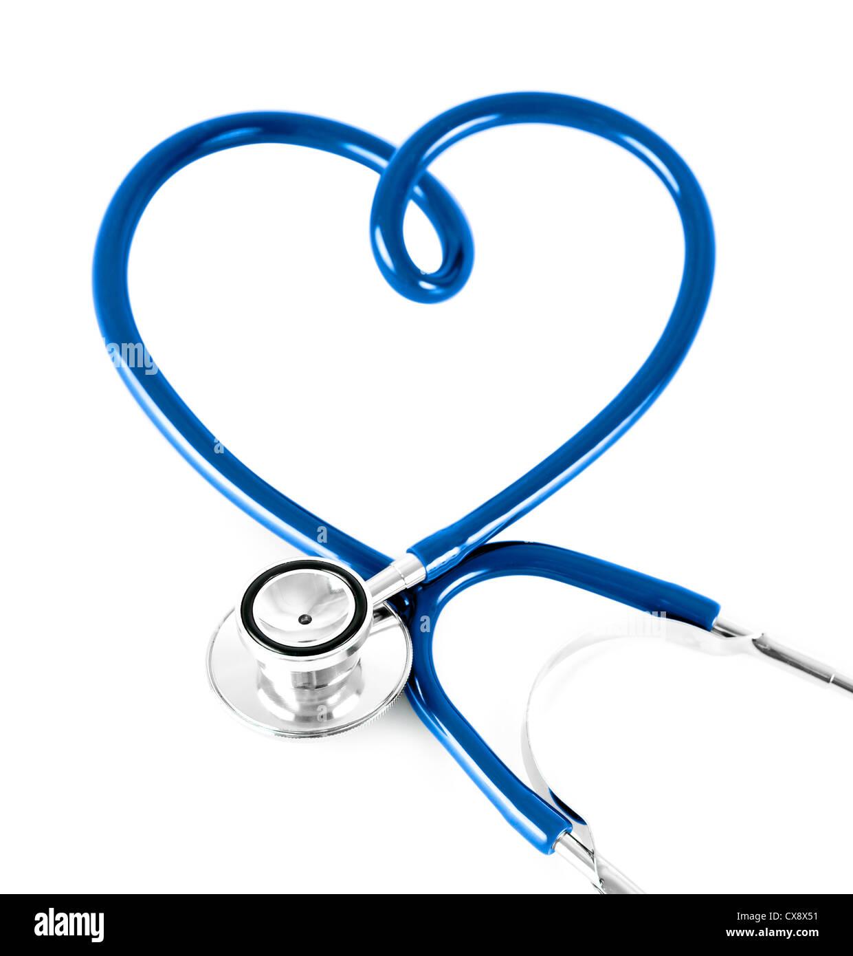 Uno stetoscopio in forma di cuore il concetto di colore blu. Immagini Stock