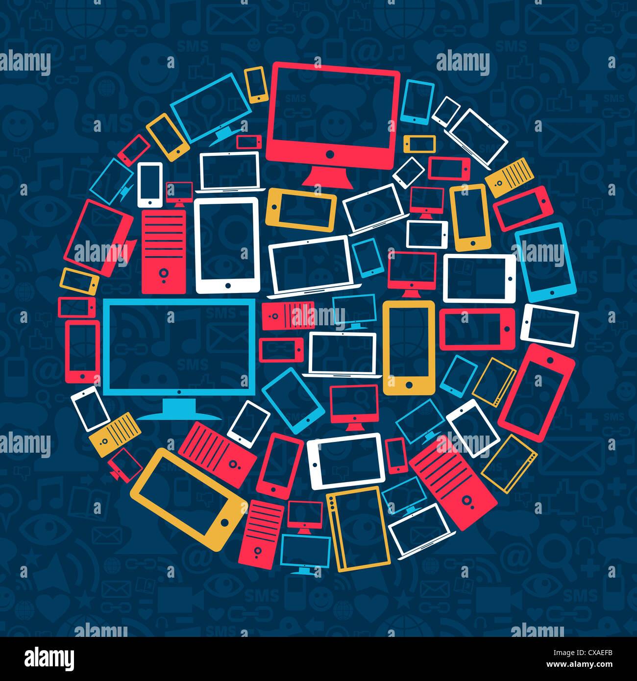Gadget Icone Cerchio Su Social Media Sfondo Pattern Illustrazione