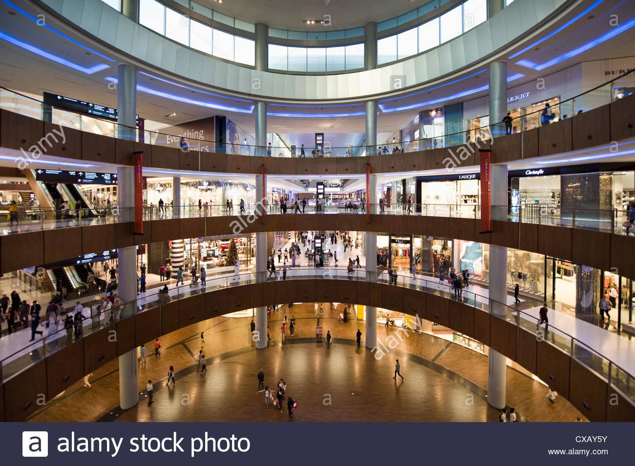 Centro commerciale di Dubai, Dubai, Emirati Arabi Uniti, Medio Oriente Immagini Stock