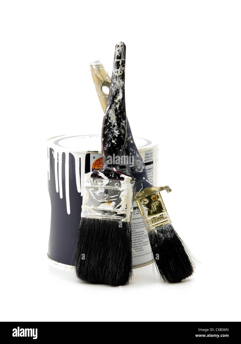 Vaso di vernice e spazzole Immagini Stock