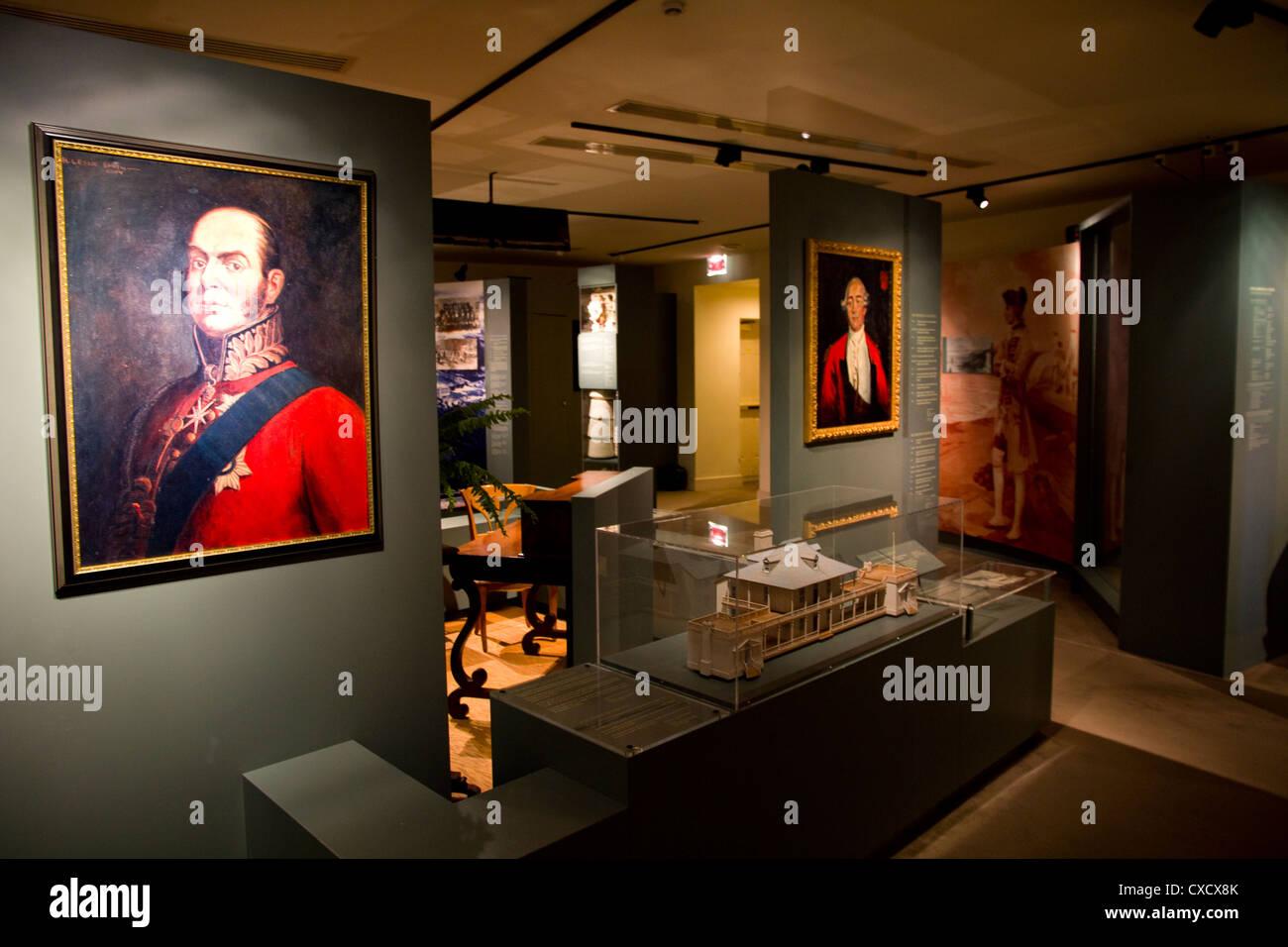 Art display, Manoir Montmorency, Montmorency Falls Park, vicino a Quebec City, in Canada Foto Stock