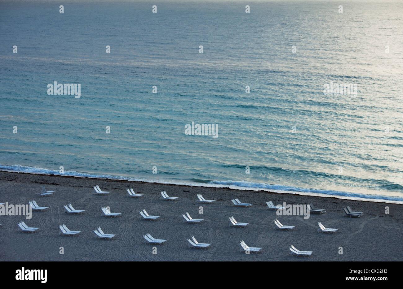 Spiaggia vuota, South Beach, Miami Beach, Florida, Stati Uniti d'America, America del Nord Immagini Stock