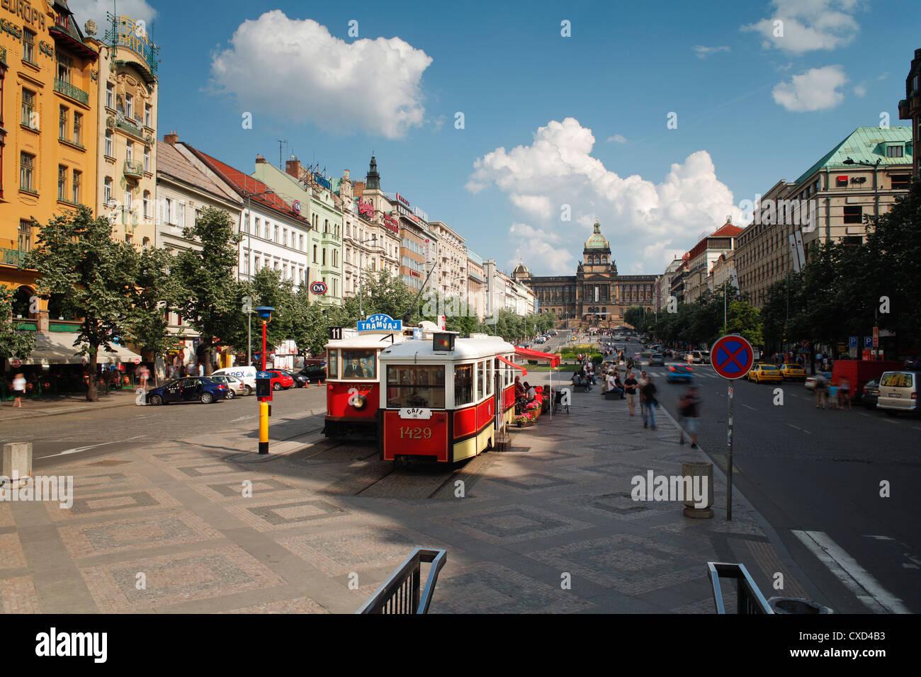 Piazza Venceslao, Praga, Repubblica Ceca, Europa Immagini Stock