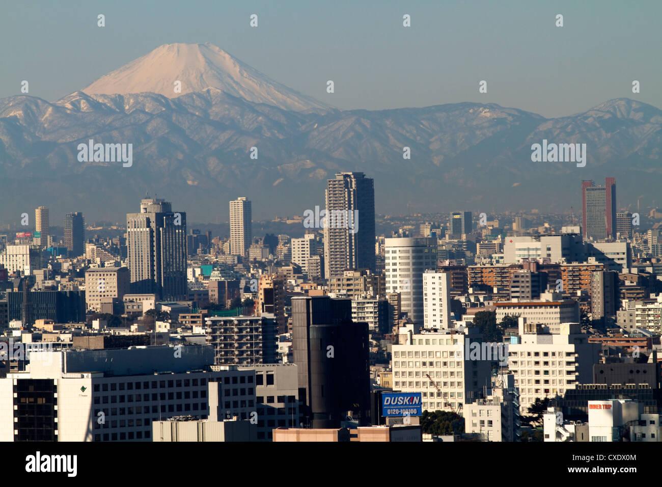 Vista sulla città di Tokyo e il Monte Fuji, Tokyo, Giappone, Asia Immagini Stock