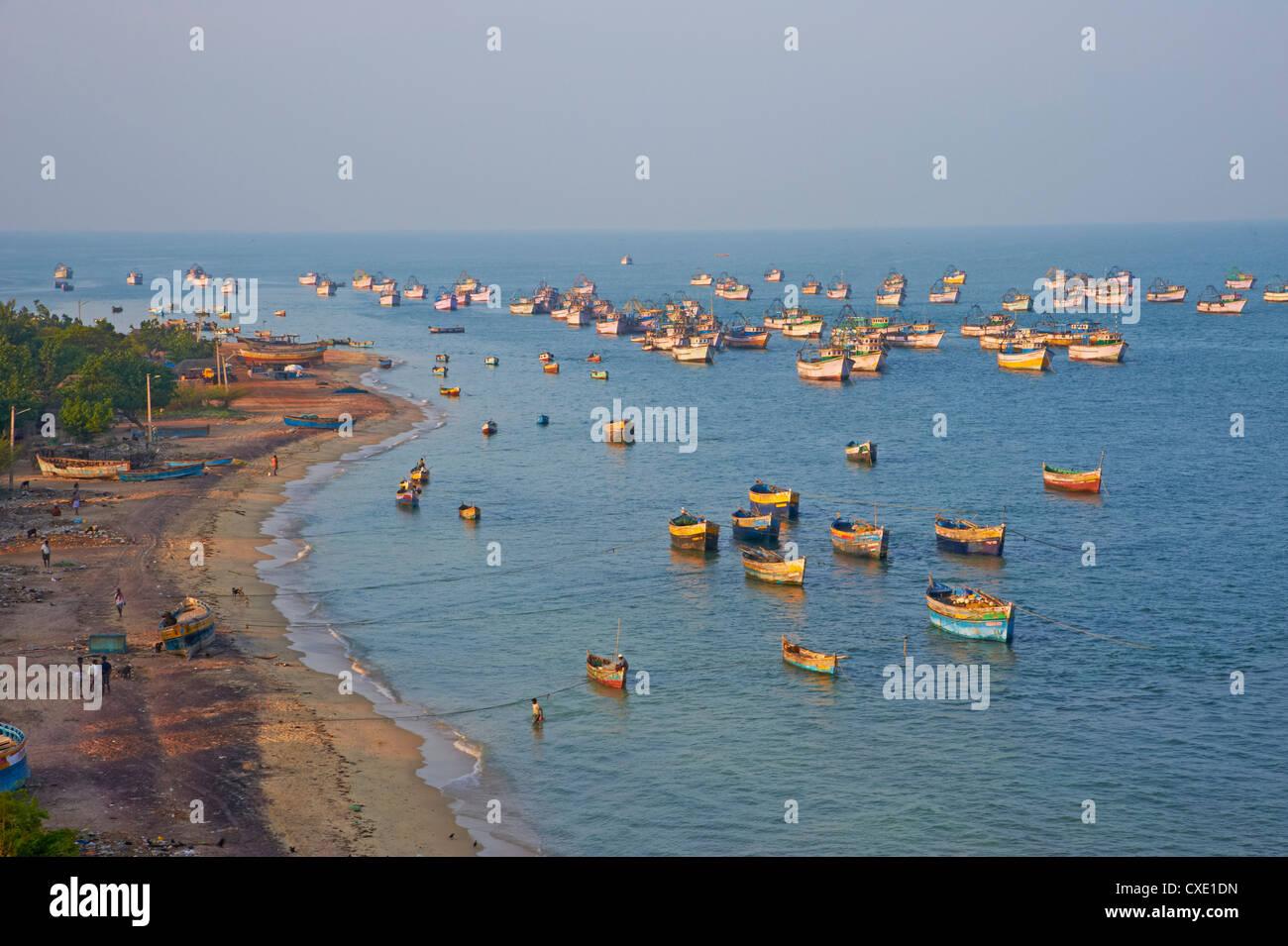 Porto di pescatori, Rameswaram, Tamil Nadu, India, Asia Immagini Stock