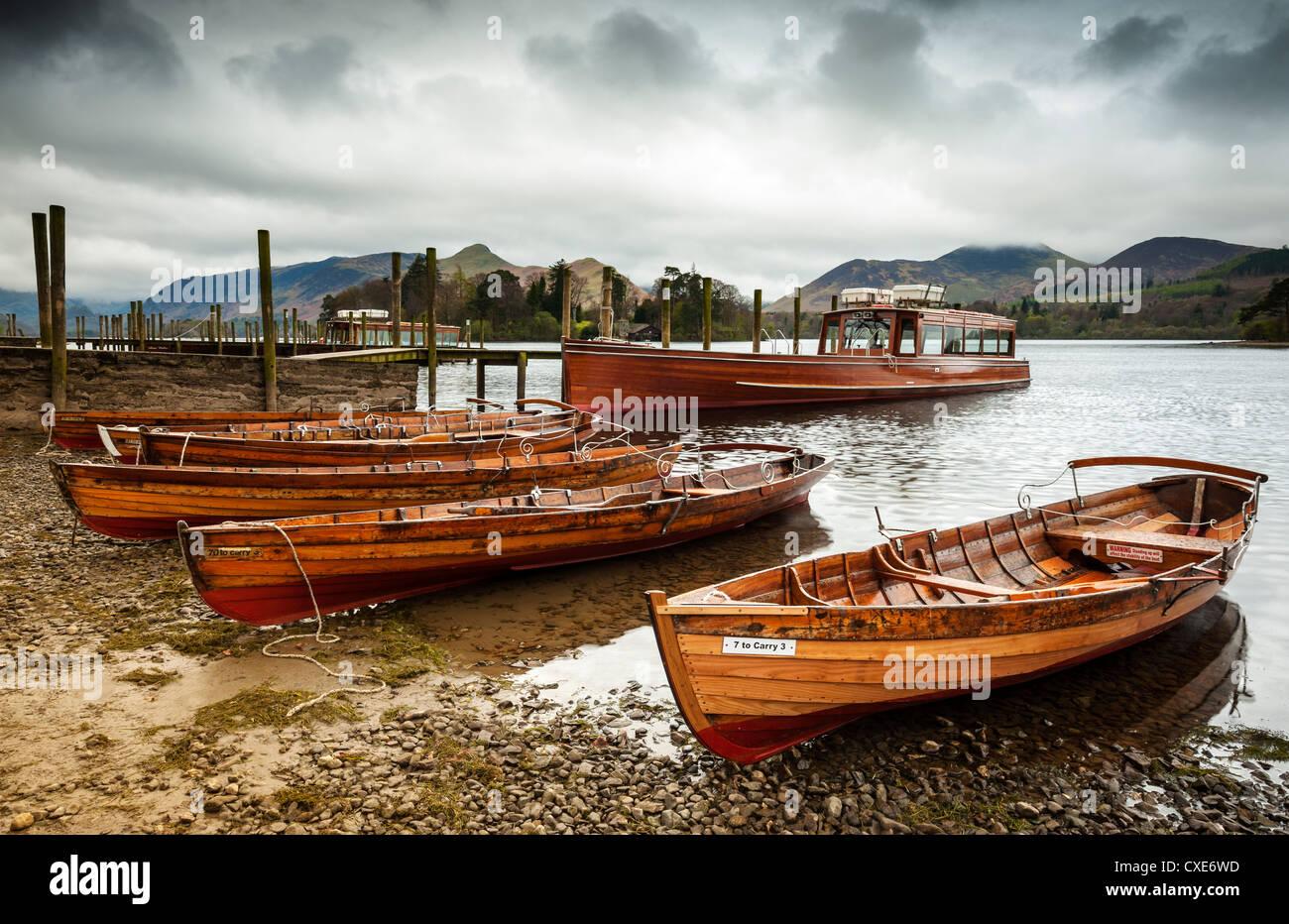 Keswick lancio barche, Derwent Water, Parco Nazionale del Distretto dei Laghi, Cumbria, Inghilterra Foto Stock