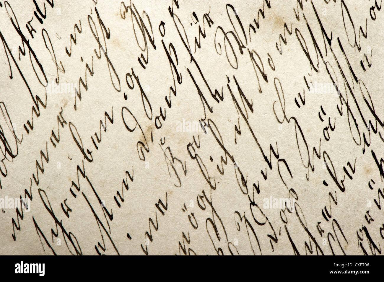 Antico manoscritto con grafia vintage abstract grungy sfondo della carta Immagini Stock