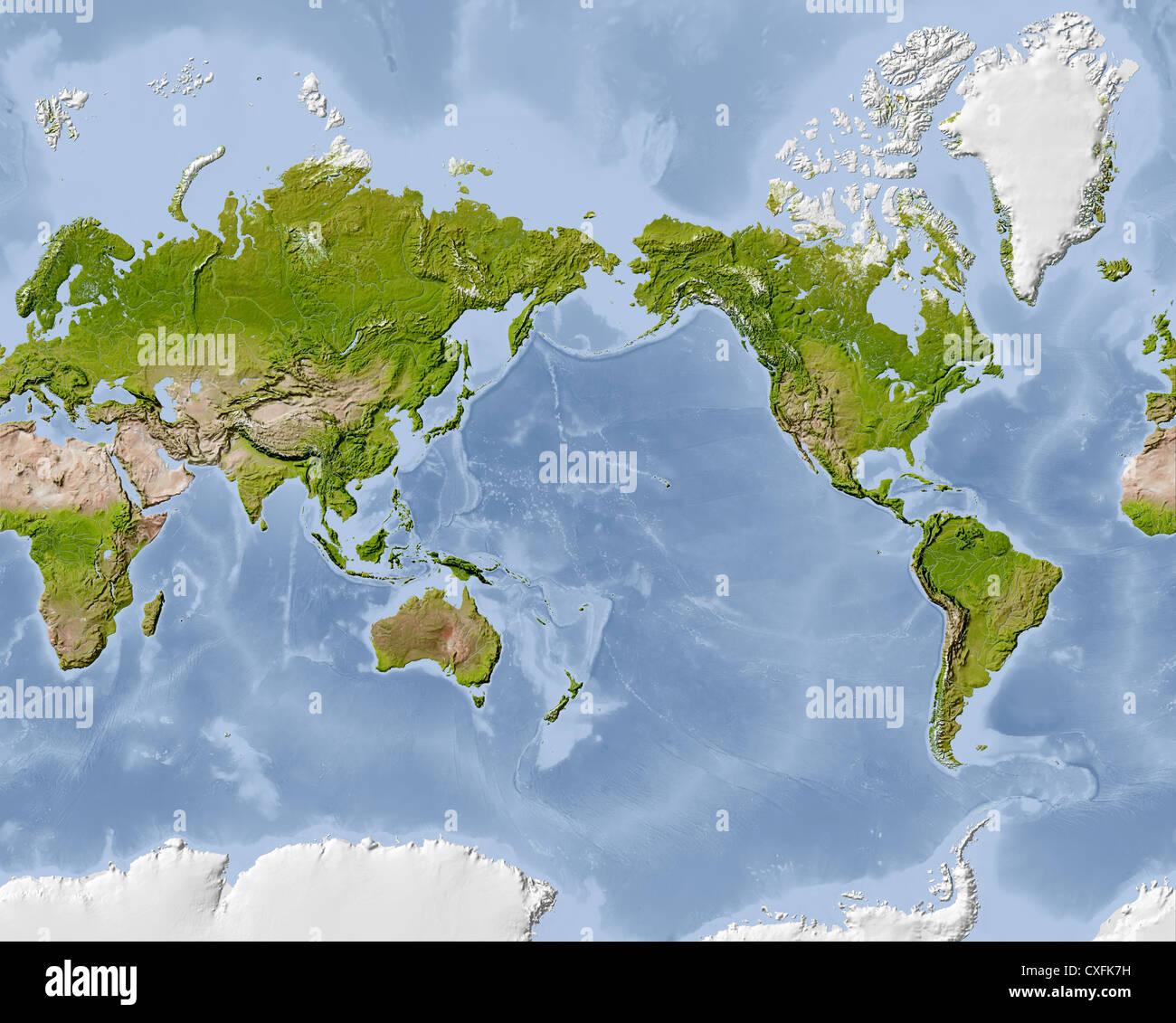 Mappa del mondo, Rilievo ombreggiato mappa. Centrato sul Pacifico. Immagini Stock