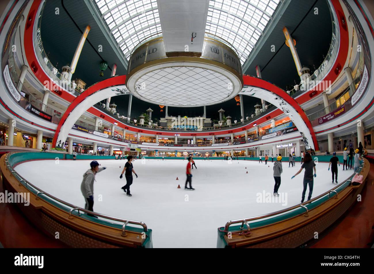Lotto mondiali Indoor Pista di Pattinaggio su ghiaccio, Seoul Corea. Immagini Stock