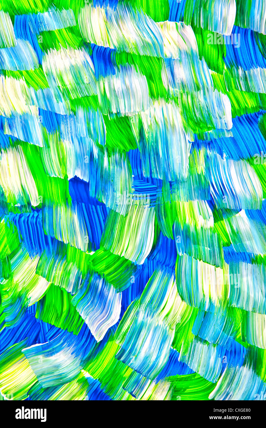 Ampie pennellate di vernice acrilica in un astratto che scorre pattern. Immagini Stock