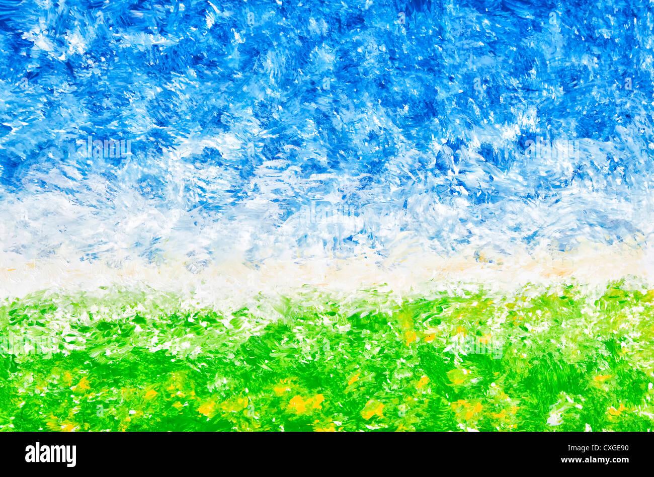 Un paesaggio astratto compreso di grezzo pennellate di vernice acrilica. Immagini Stock