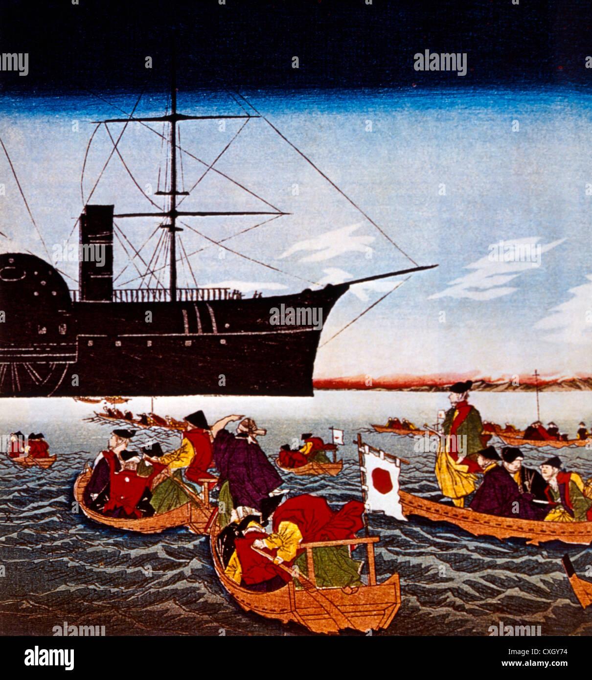 Commodore Matthew C. Perry nera della nave in arrivo in Giappone, Stampa 1853 Immagini Stock