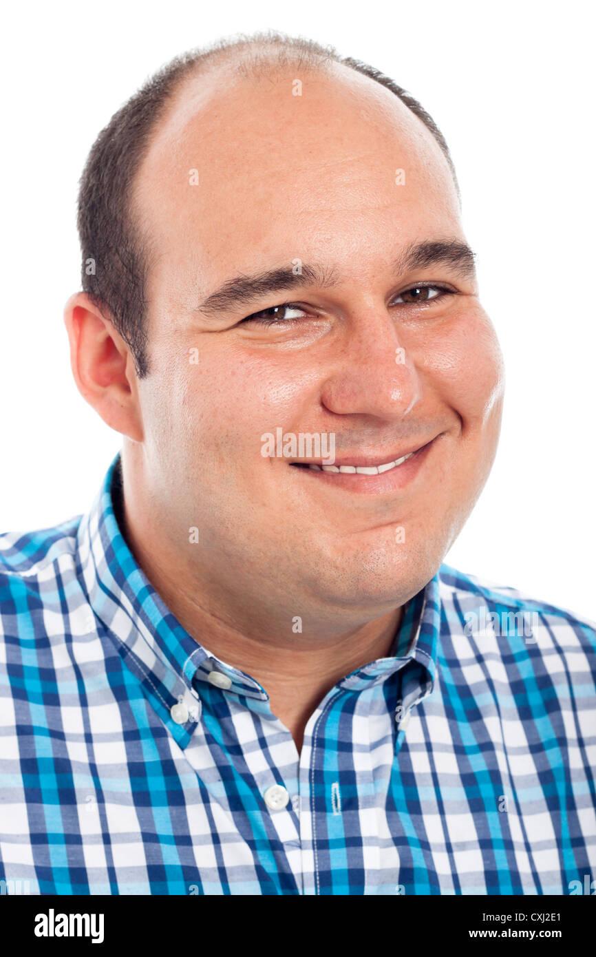 Close up uomo sorridente, isolato su sfondo bianco. Immagini Stock
