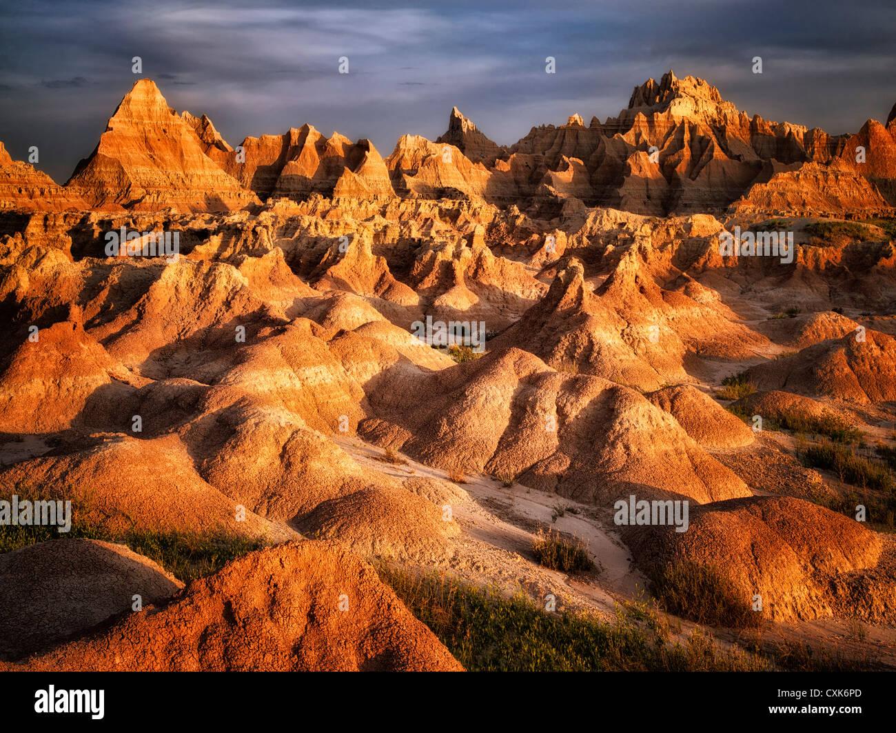 Erosi formazioni rocciose nel Parco nazionale Badlands, South Dakota. Immagini Stock