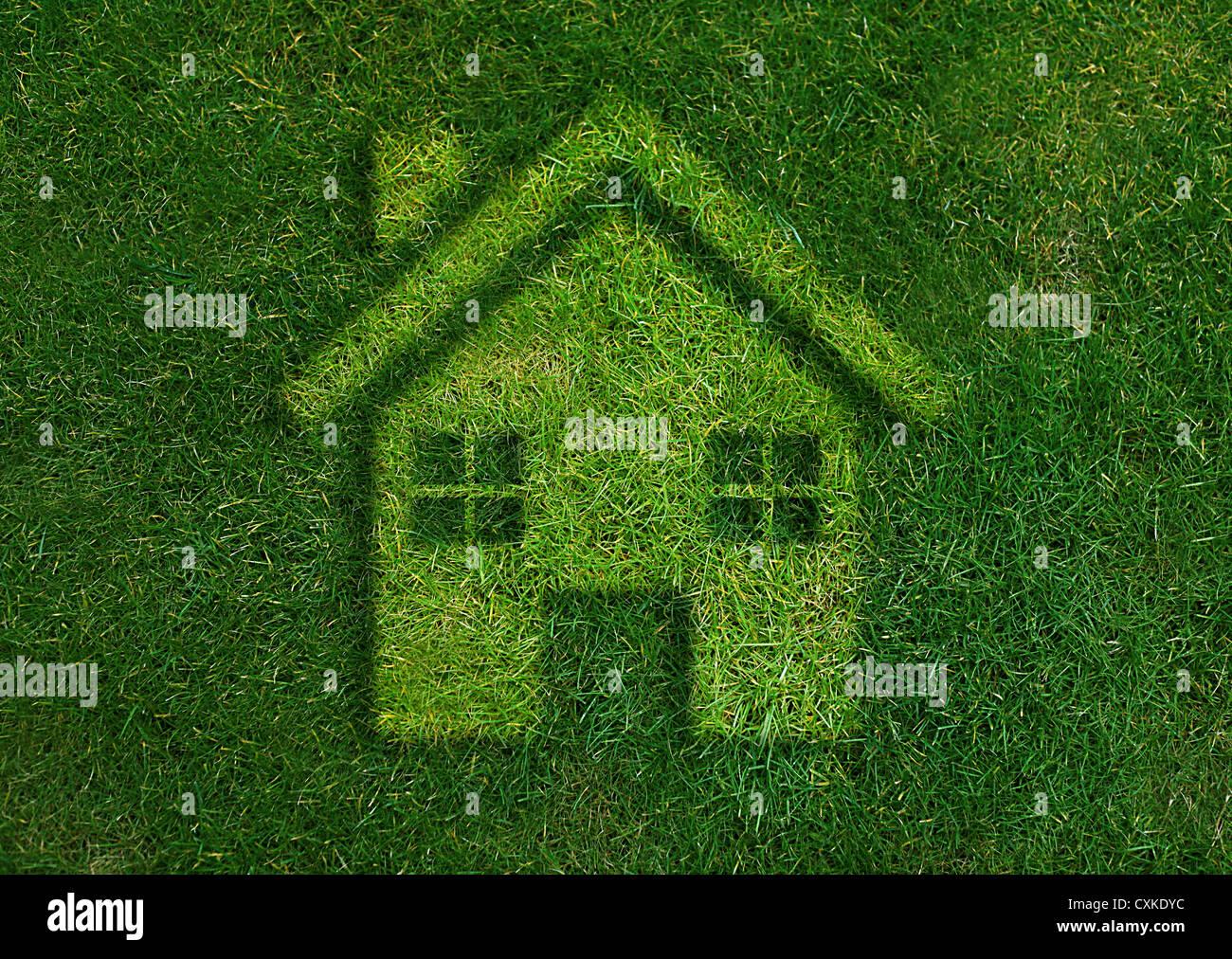 Concetto di ecologia, verde home mondo verde. Immagini Stock