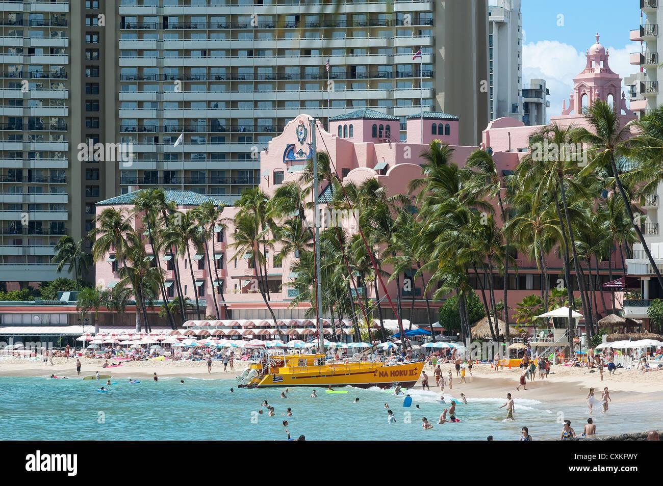 Elk284-1434 Hawaii, Oahu, Honolulu, Waikiki, Royal Hawaiian Hotel Immagini Stock
